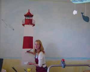 Leuchtturm als Wandmalerei